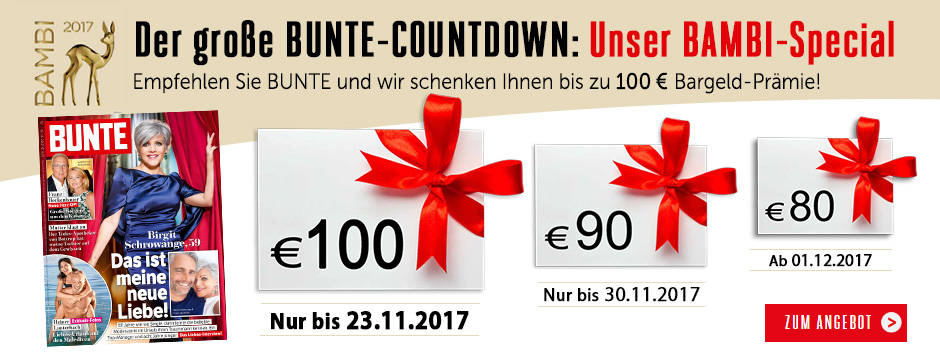 BUNTE Countdown 100 € sichern!