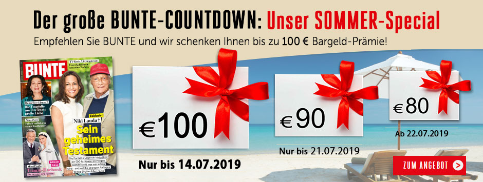 Bunte Countdown Sommer 2019