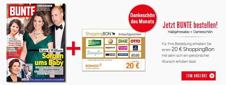 BUNTE Halbjahres-Abo - 20 € ShoppingBon