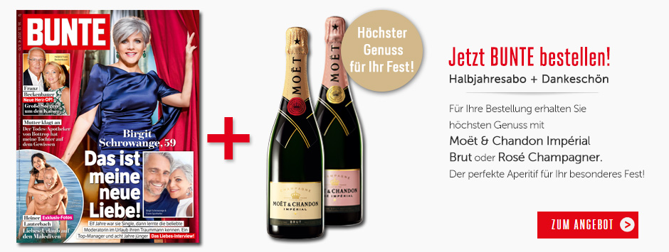 BUNTE bestellen und Prämie Moet & Chandon Impérial Champagner sichern!