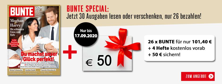 BUNTE - 30 Ausgaben 26 bezahlen + 50 €  Verrechnungsscheck!