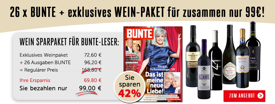 26 x BUNTE + exklusives WEIN-PAKET für zusammen 99€ !